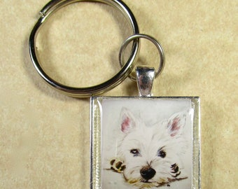 West Highland White Terrier Keychain, Westie Key Chain, West Highland White Terrier Key Ring, Westie Mens Gifts, Westie Gifts for Dad