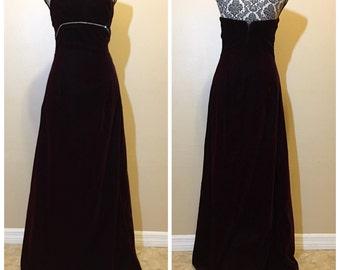 Vintage Red Velvet Prom Dress | Burgundy Prom Dress | Velvet Prom Dress