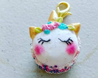 Polymer Clay Miniature Unicorn Macaron Charm