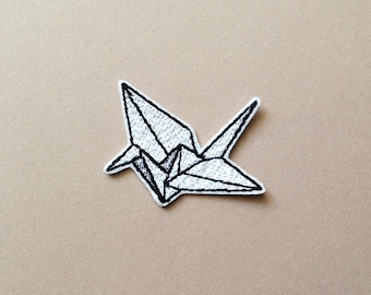 Origami patch Origami crane patch Iron on Patch origami paper crane Embroidered Patch Gift for Origami lovers
