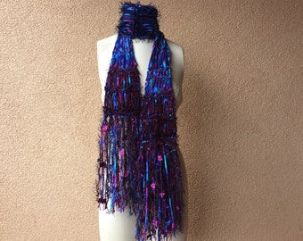 "Blue and Purple Scarf with Teal Turquoise Ribbon Scarf, Fringe, Navy and Maroon, Hand Knit Crickets Creations Scarf ""Midnight Lake"""