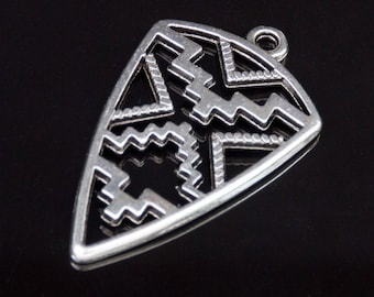 2 pendants silver shield 30x18mm