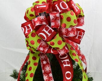 Santa Christmas Tree Topper Bow - Red Tree Bow Topper - Santa Bow for Top of Christmas Tree - Christmas Tree Bow Topper