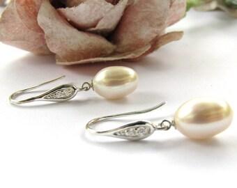 Bridal Earrings, Freshwater  Pearl Tear Drop Earrings, Wedding Earrings, BridalJewellery, Wedding Jewellery,  White CZ , Long drop earrings,