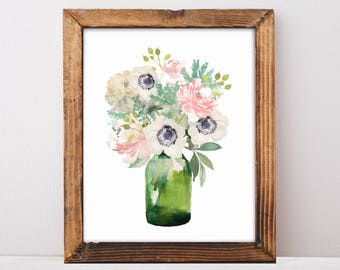 Peony, Anemones, Pink Peony, Fixer Upper Style, Peonies Bouquet, Farmhouse Signs, Fixer Upper, Printable Gift Women, Printable Art, Download