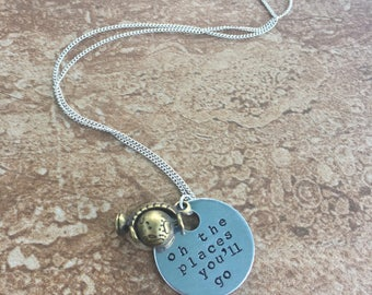Oh The Places You'll Go - Hand Stamped Necklace or Key Chain