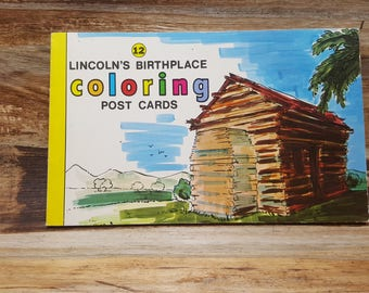 Lincolns Birthplace Coloring Post Cards, 1972, vintage postcards