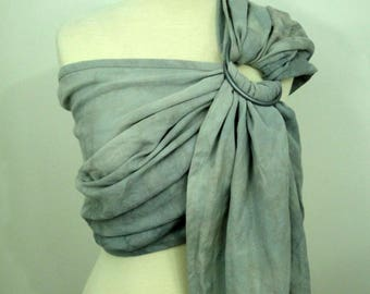 Ring sling, wrap conversion ring sling, cotton - Linen, hand dyed, gray, beige, natural, marble grey