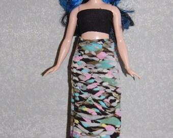 Curvy Barbie Maxi Skirt A4B166 fashionista fashion doll clothes grey/pink/blue READY To Ship
