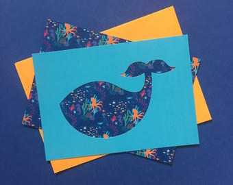 Cards blue whale - stencil & pattern Collection