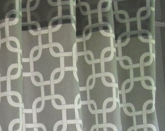 GEOMETRIC CURTAINS-  COLORS-  Designer Window Panels - Shower Curtain -Valance - Unlined, Curtains, Grey on natural