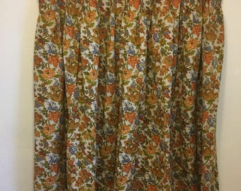 vintage curtain panel, vintage decorator fabric, wide curtain panel, orange curtains, blue curtain, green curtain