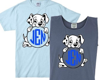 101 Dalmatians Inspired Monogram Vinyl Comfort Color T-Shirt, V-Neck, Or Tank