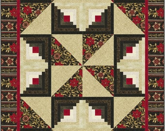 Pinwheel Star Quilt Pattern, 4969-1, pieced lap Quilt, log cabin quilt pattern