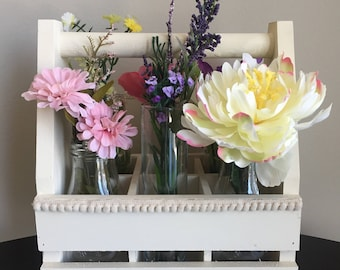 Flower Box, Floral Arrangement, Flower Caddy, Wood Box with Jars, Rustic Floral Arrangement, Garden Flower Box, Floral Centerpiece