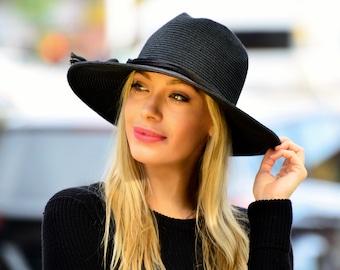 SPF Sun Hat Women's Straw Hat Wide Brim Fedora Black Hat Spring Fashion Resort Wear Boho Fedora Hat Festival Fashion Beach Hat Travel Hat