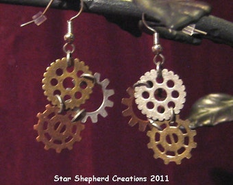 simple Steampunk Gearrings in copper, silver, and gold finishes of base metal gear earrings