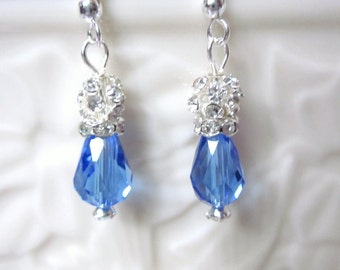 Sapphire Blue - Earrings of Blue Swarovski Teardrop Crystals and Crystal Ball Toppers