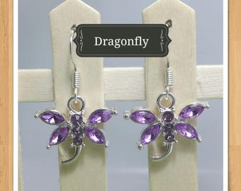 PURPLE DRAGONFLY EARRINGS dragonfly earrings animal earrings whimsical earrings zoo earrings bird earrings bug earrings girls earrings charm