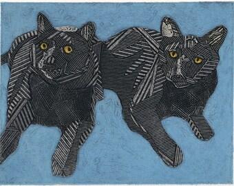 Black Cat Art -  Original Fine Art Collograph Cat Print - Macy and Taz on Blue 1