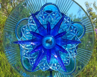 Blue Star Sapphire Glass Flower, Outdoor Decor, Yard Art, Glass Flowers, Glass Garden Art, Garden Art Glass, Plate Flower, LinMoonDesigns