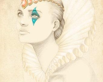 Illustration: Q of Hearts by Marisa Jiménez LIMITED EDITION 1/50.
