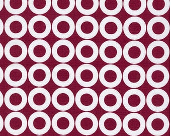 Spot On Circles on Burgundy from Robert Kaufman's Spot on Collection