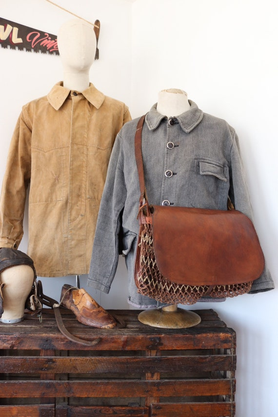 Vintage 1950s 50s french conker brown leather fishing hunting shoulder bag net sports gamekeeper