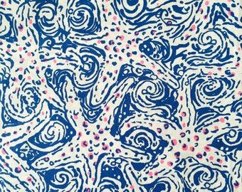 "indigo star crush poplin cotton fabric square 17""x17"" ~ lilly pulitzer"
