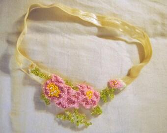 Beaded Pink Flower Headband