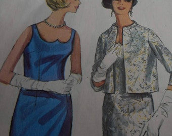 Vintage 1960's Simplicity 5703 Evening Dress and Jacket Sewing Pattern, Size 14, Bust 34