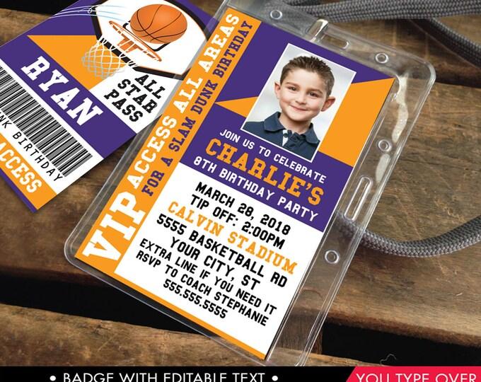 Basketball VIP I.D. Badge Invitation - Photo Basketball Invite Badge, Party Favor,All Star Badge | Instant Download D.I.Y. Printable PDF Kit