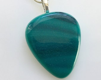 Guitar Pick Pendant, Fused Glass Jewelry, Teal Green Blue Art Glass Guitar Pick Necklace