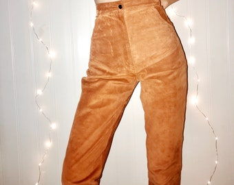 vintage suede pants • 70s 1970s • genuine leather • tan brown orange color • high waisted trousers • small waist: 25""