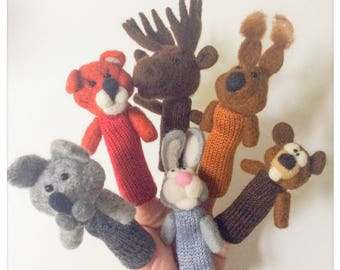 Finger puppets Forest Animals/puppet wool has fingers animals of nature in knit and felted wool