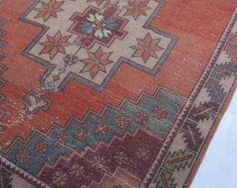 "7'10""x4'3"" Muted Red, Blue and Purple Faded Turkish Rug"