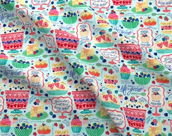 Watercolor Sweets Fabric - Berry Sweet By Sarah Treu - Watercolor Sweets Desserts Berries Fruit Cotton Fabric By The Yard With Spoonflower