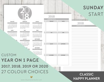 Happy Planner 2017, 2018, 2019, 2020 Year on One Page, Year Overview, Happy Planner Printable Pages, Happy Planner Inserts, Yearly Calendar