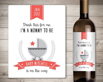 Custom Wine Label - Pregnancy Announcement - Baby Announcement Wine Bottle Label - Shower Favor - Pregnancy Reveal