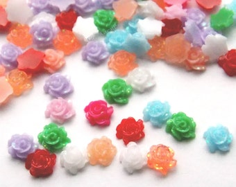 144 Mixed Rose Mini Cabs 6mm,  Resin holographic glitter, Flatback Tiny Flower Cabochons, 6 mm , white pink green blue purple peach small