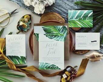 Tropical Wedding Invitation, Beach, Coastal, Destination, Palm Leaf, Banana Leaf // Jaraux Suite