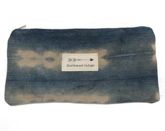 "Boho Vintage Tie Dye Indigo Pouch 5x9"""