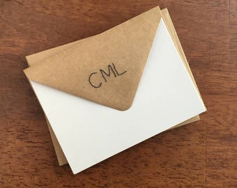 Custom Hand Stitched Envelopes / Monogrammed / Personalized / Simple Handmade Envelopes + Notecards Optional