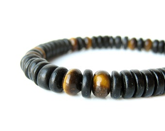 "Men's bracelet handmade from tiger eye and black wood - ""Cat's Eye"""