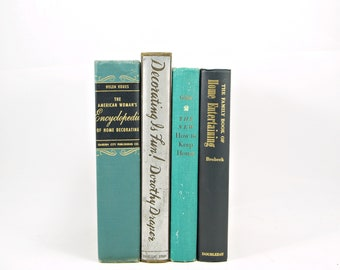 Turquoise Green Antique DECORATING Books, Teal Book Set, Mint Book Decor, Wedding Decor, Decorative Books, Home Decor, Old Book COllection