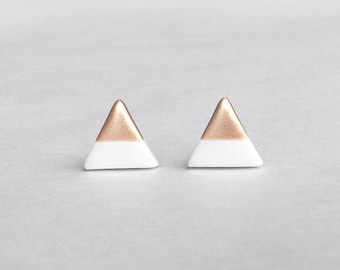 WHITE & ROSE GOLD Dipped Triangle Stud Earrings,Bridesmaid Earrings Bridesmaid gifts,Wedding Jewelry, Small Triangle Studs,Amoorella Jewelry