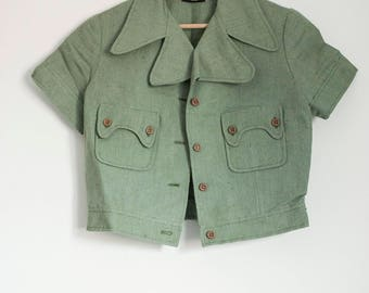 70s Two Piece Summer Suit/ Collar Jacket