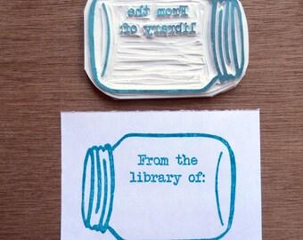 Mason jar stamp, mason jar bookplate stamp, ex libris stamp, ex libris rubber stamp, mason jar stamper, bookplate stamper, library stamp