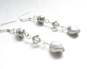 Gray Pearl Earrings, Crystal and Pearl Jewelry, Swarovski Elements, Elegant Pearl Dangle Earrings, Faux Pearl Jewelry