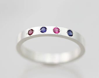4 Stone Mothers Ring, Small in Sterling Silver (Made to Order)